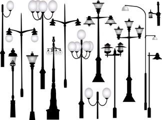set of black morden street lamps