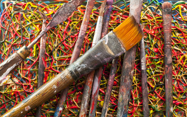 Close-up of paint brushes