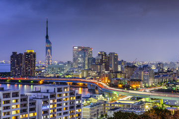 Fukuoka, Japan Skyline Wall mural