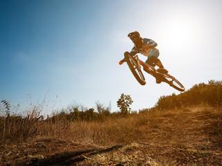 Bike jump. Downhill mountain biking.