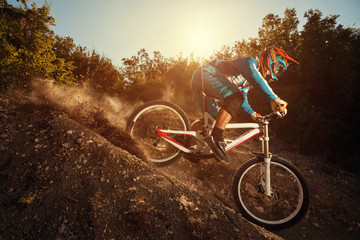 Downhill mountain bike. Man cyclist riding bicycle Wall mural