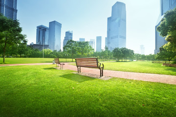 bench in park, Shanghai, China