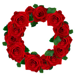 red roses wreath