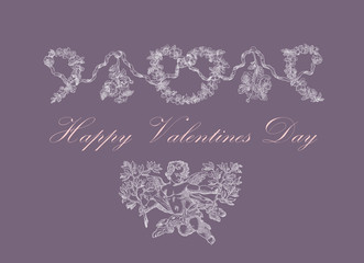 Happy valentines day vintage card
