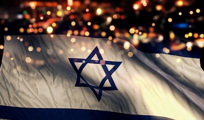 Israel National Flag Light Night Bokeh Abstract Background Fototapete