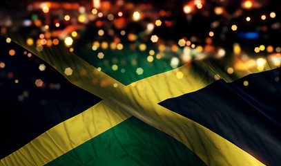 Jamaica National Flag Light Night Bokeh Abstract Background