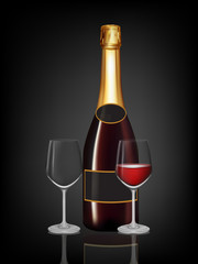 Champagne red bottle and two champagne glass on black