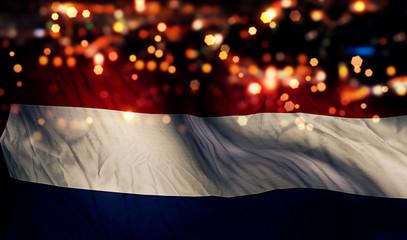Netherlands National Flag Light Night Bokeh Abstract Background