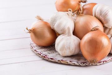 Fresh organic onion and garlic