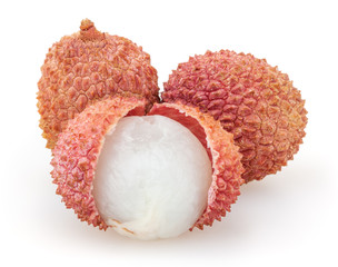 Three lychees isolated on white background
