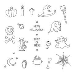 Happy Halloween. Set with pumpkins, skulls, cats, spider's web,