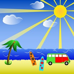 Beach Background illustration with Surfboards and minibus