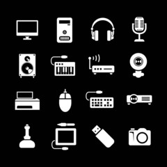 Set icons of PC and electronic devices