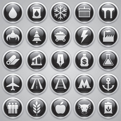 Vector set glossy icons, industrial and transport icons, design