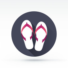 Flat style with long shadows, flip flop vector icon