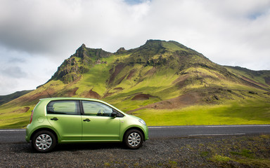 Paysage Campagne route voiture islandaise Islande