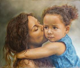 dipinto di una giovane donna che bacia una bimba