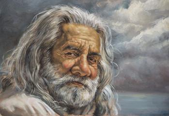 dipinto di un uomo anziano con barba bianca