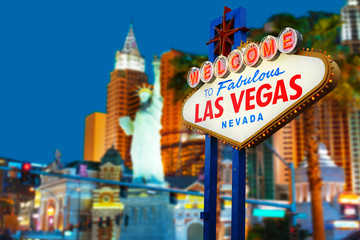 Fotorolgordijn Las Vegas Welcome to Las Vegas neon sign