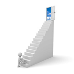 First step to success concept man stepping up to open sky door