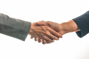 Businessmen handshake isolated on white