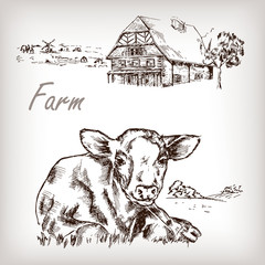 Farm set. House, cow, homestead hand drawn vector illustration
