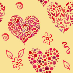 pattern with leaves in shape of heart 2