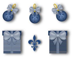 Christmas decoration set with fleur de lis motif