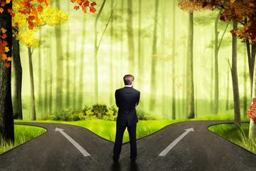 Geschäftsfrau muss sich bei einer Weg-Gabelung entscheiden