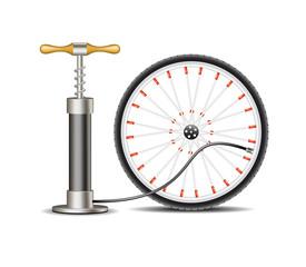 Air pump with bicycle wheel