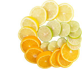 Lime, lemon and orange layer slices over white background