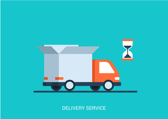 Flat style vector illustration delivery service truck shipping