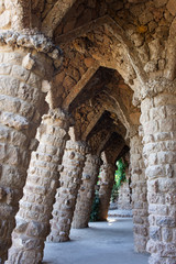 Colonnaded Terrace by Antoni Gaudi in Park Guell