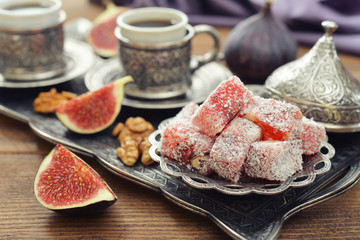 Turkish delight with coffee