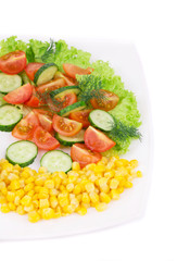 Salad with corn and vegetables.