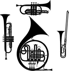 Brass musical instruments vectorized set