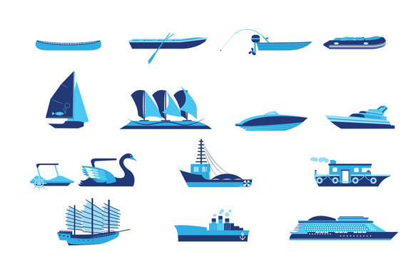 Types of boat and Ship Transportation vector and icon