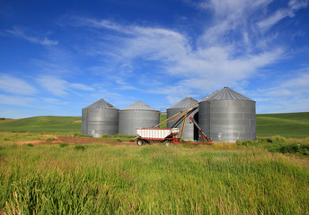 Four small silo s in the farm
