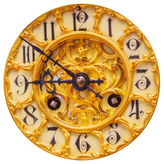 Rich decorated golden clock face isolated on white