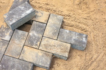 Grey bricks on a construction site
