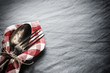 Table setting with vintage spoon and fork