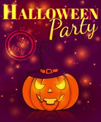 Halloween party. Festive poster. Vector illustration.