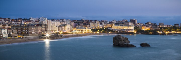 Biarritz Grande Plage beach at twilight