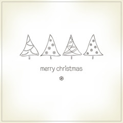 Greeting card with Christmas trees in doodle style