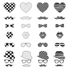 Hipster Vintage Icon with Pattern Background
