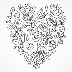 Cute vector outline floral heart