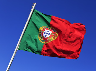 Flag of Portugal in the wind, Lisbon, Portugal.