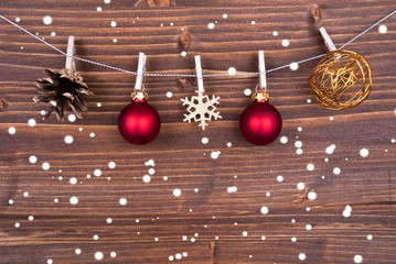 Christmas Decoration on Wood in the Snow