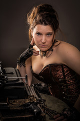 steampunk woman with typewriter