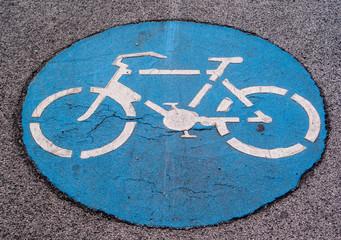 Close up of Blue Bike Lane Sign